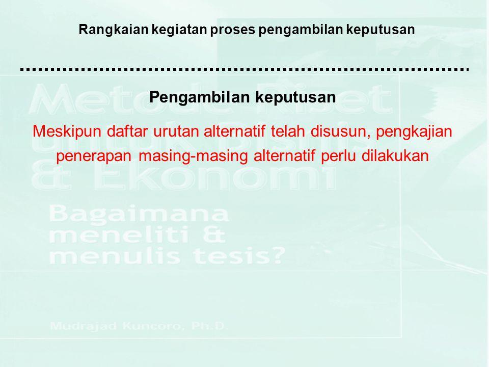 Rangkaian kegiatan proses pengambilan keputusan Pengambilan keputusan