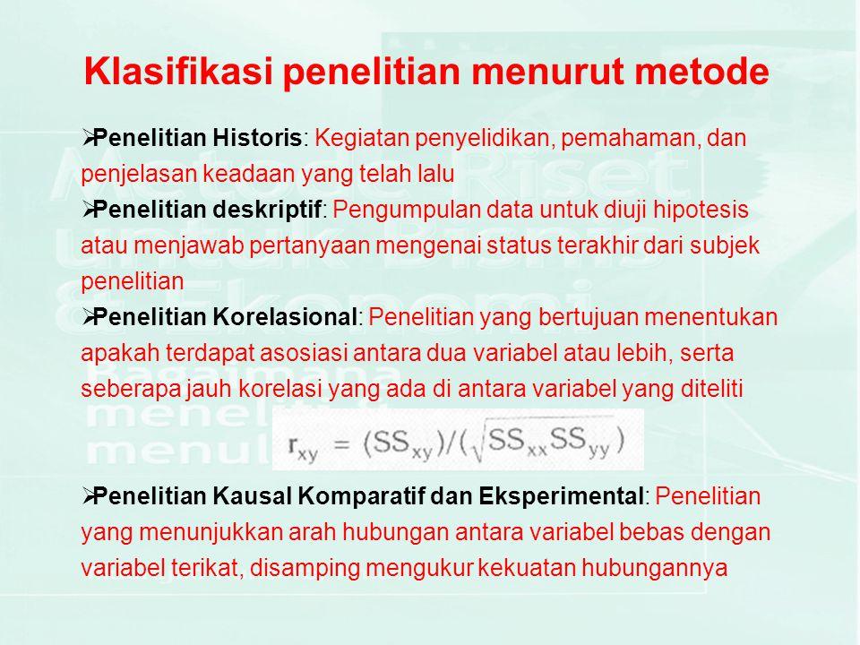 Klasifikasi penelitian menurut metode