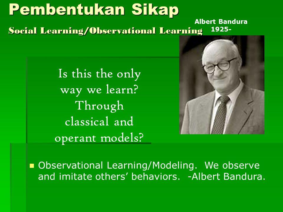 Pembentukan Sikap Social Learning/Observational Learning