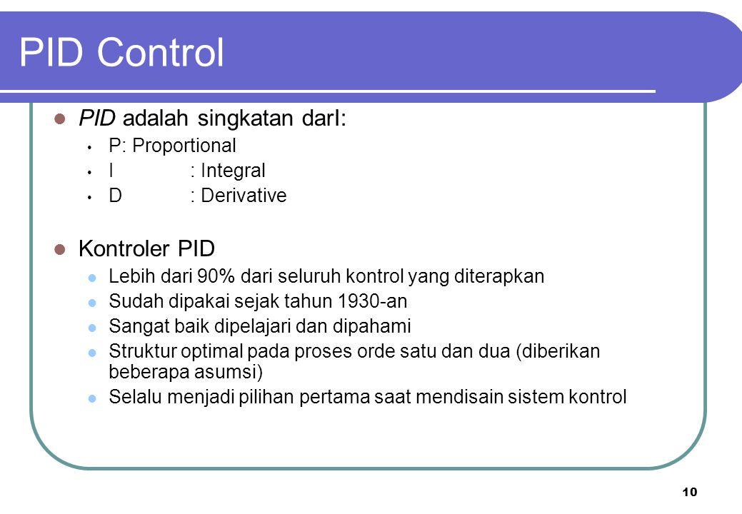 PID Control PID adalah singkatan darI: Kontroler PID P : Proportional