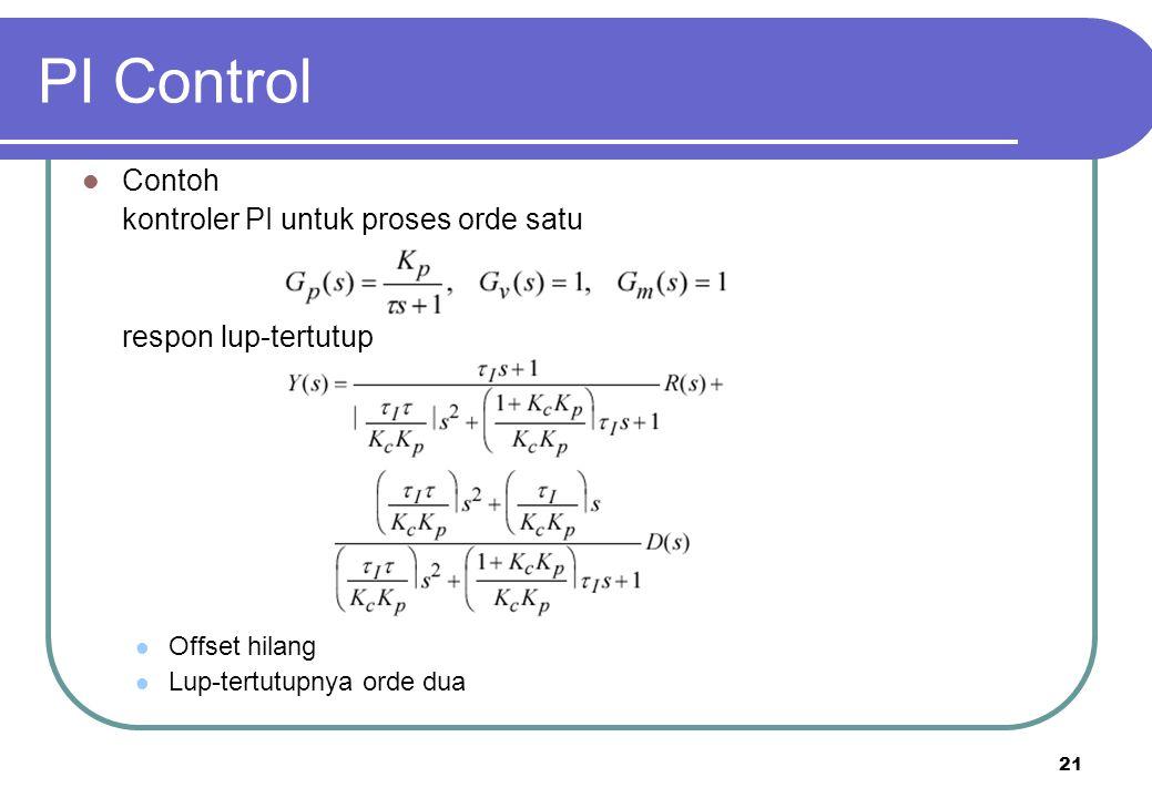 PI Control Contoh kontroler PI untuk proses orde satu