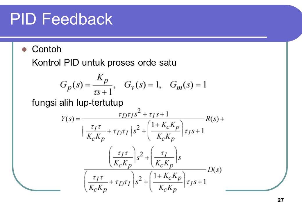 PID Feedback Contoh Kontrol PID untuk proses orde satu