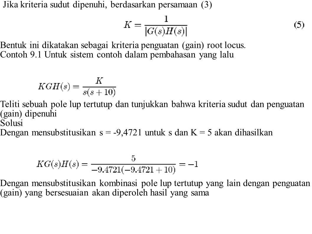 Jika kriteria sudut dipenuhi, berdasarkan persamaan (3)