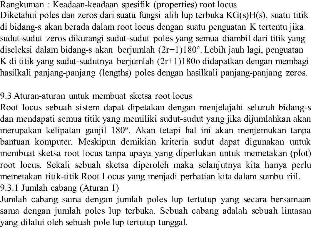 Rangkuman : Keadaan-keadaan spesifik (properties) root locus