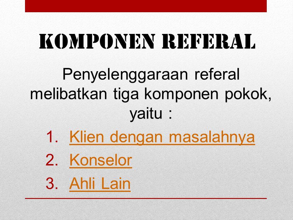 Penyelenggaraan referal melibatkan tiga komponen pokok, yaitu :