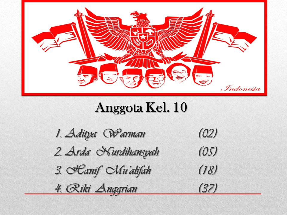 Anggota Kel. 10 2. Arda Nurdihansyah (05) 3. Hanif Mu'alifah (18)