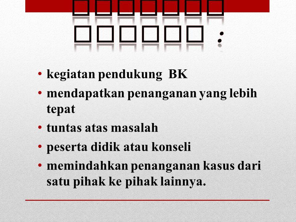 Referal adalah : kegiatan pendukung BK