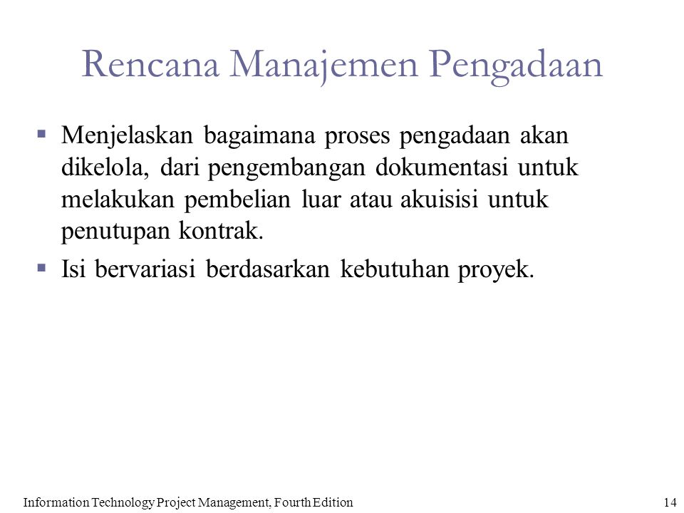Rencana Manajemen Pengadaan