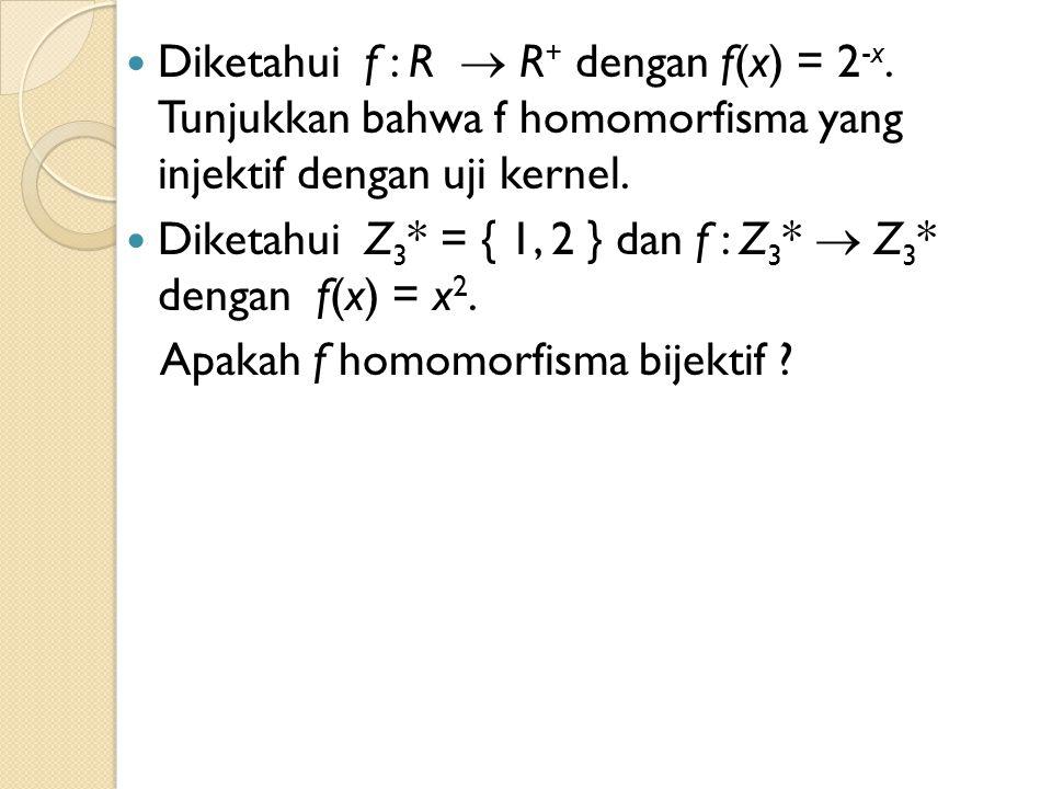 Diketahui f : R  R+ dengan f(x) = 2-x