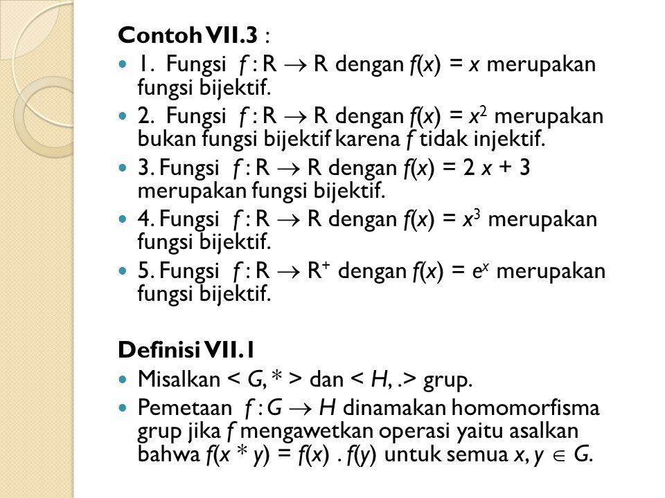 Contoh VII.3 : 1. Fungsi f : R  R dengan f(x) = x merupakan fungsi bijektif.