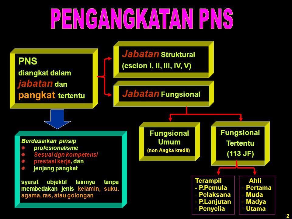 Jabatan Struktural PNS Jabatan Fungsional (eselon I, II, III, IV, V)
