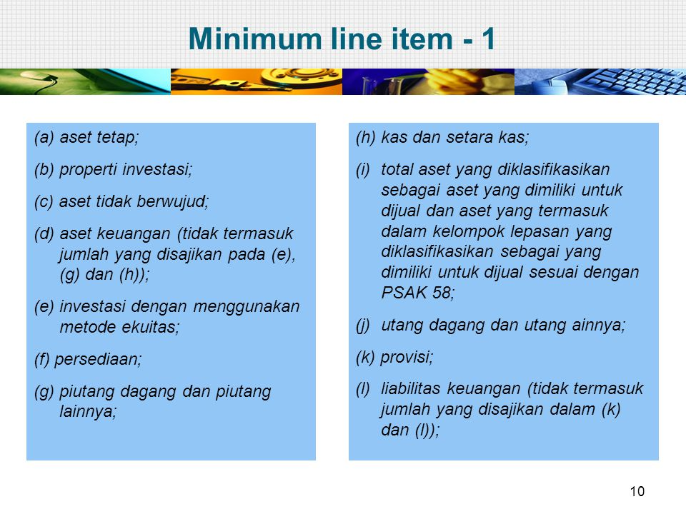 Minimum line item - 1