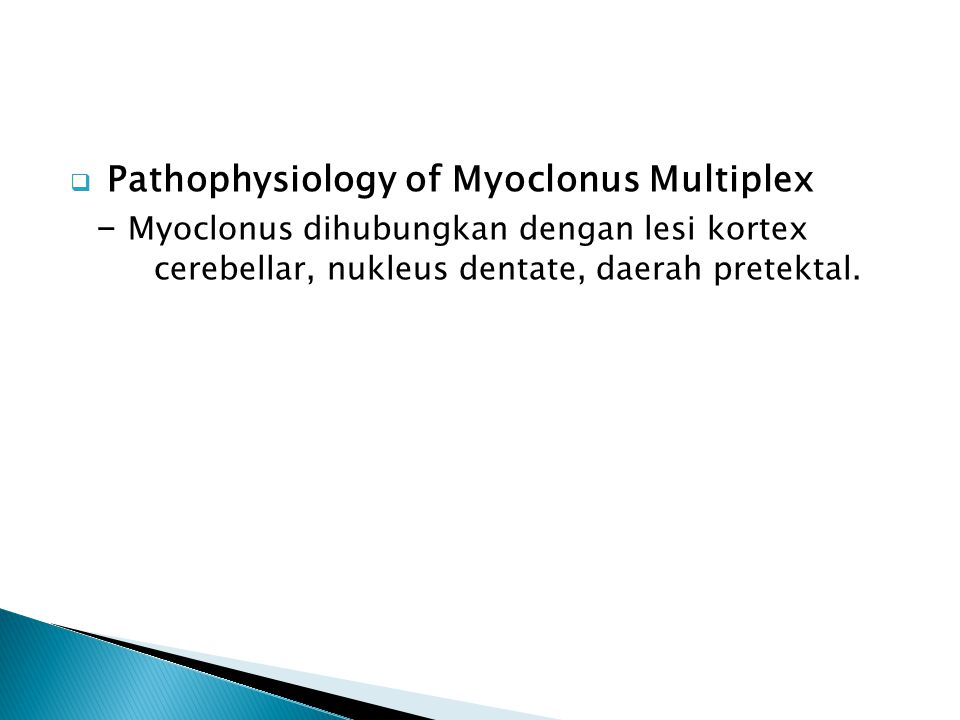 Pathophysiology of Myoclonus Multiplex