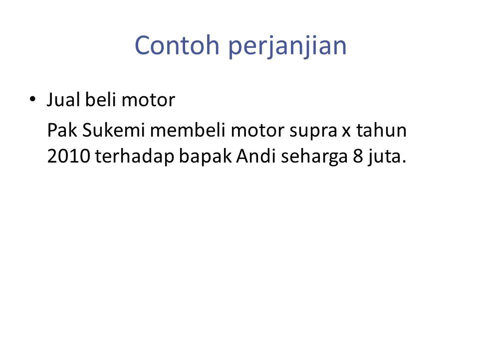 Contoh perjanjian Jual beli motor