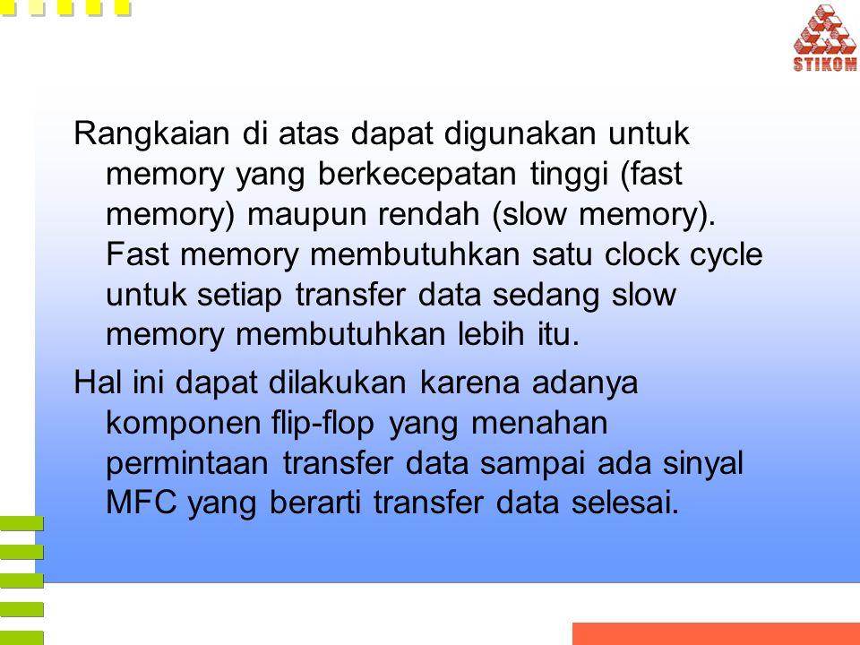 Rangkaian di atas dapat digunakan untuk memory yang berkecepatan tinggi (fast memory) maupun rendah (slow memory). Fast memory membutuhkan satu clock cycle untuk setiap transfer data sedang slow memory membutuhkan lebih itu.