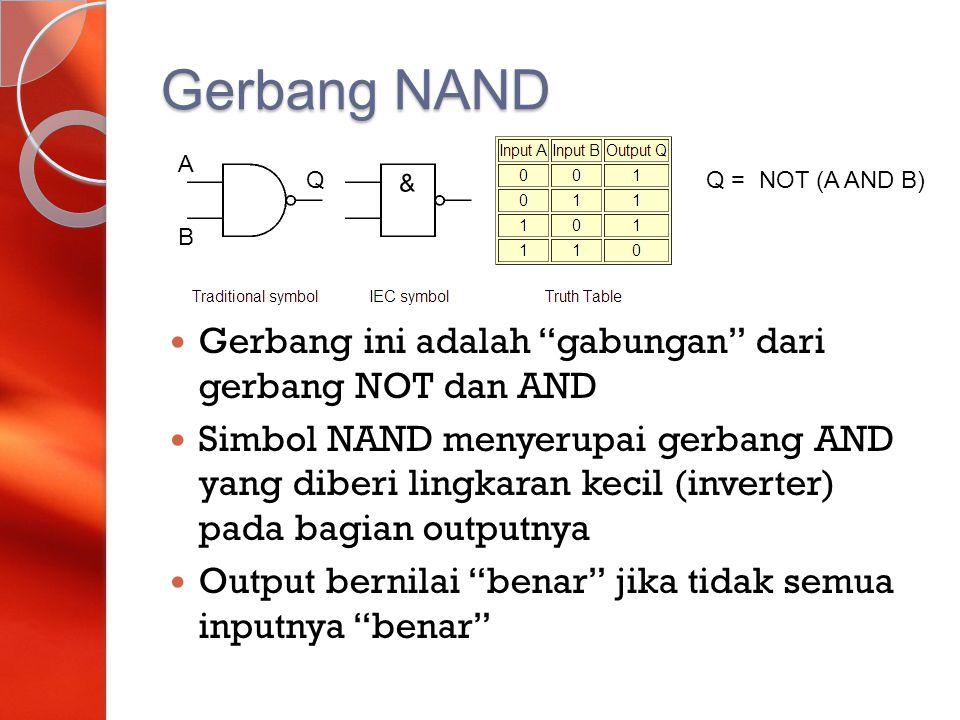 Gerbang NAND Gerbang ini adalah gabungan dari gerbang NOT dan AND