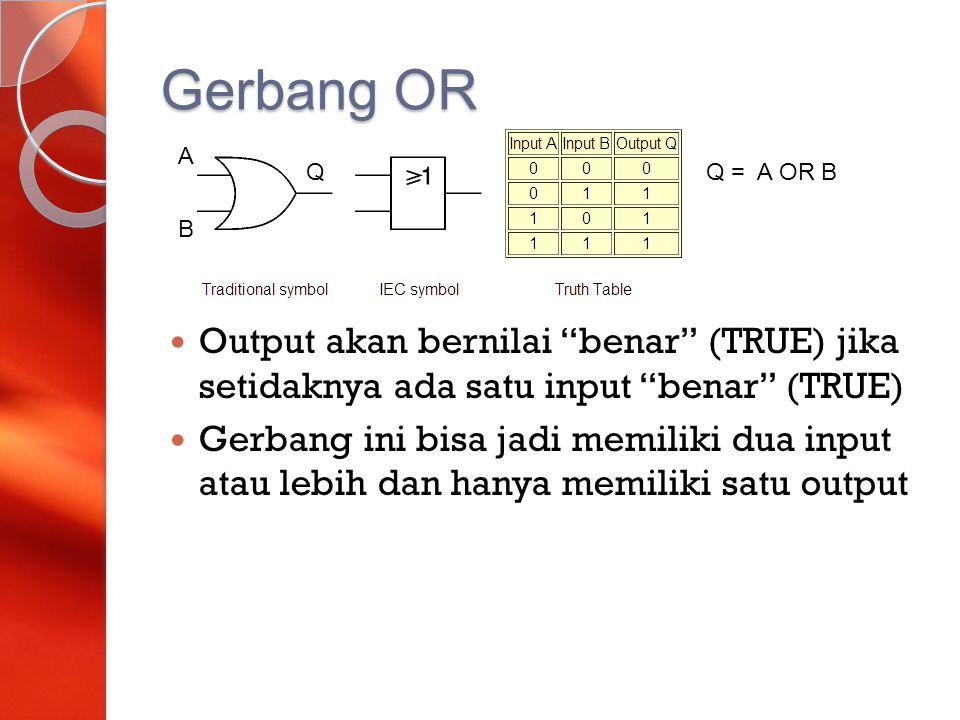 Gerbang OR A. Q. Q = A OR B. B. Output akan bernilai benar (TRUE) jika setidaknya ada satu input benar (TRUE)
