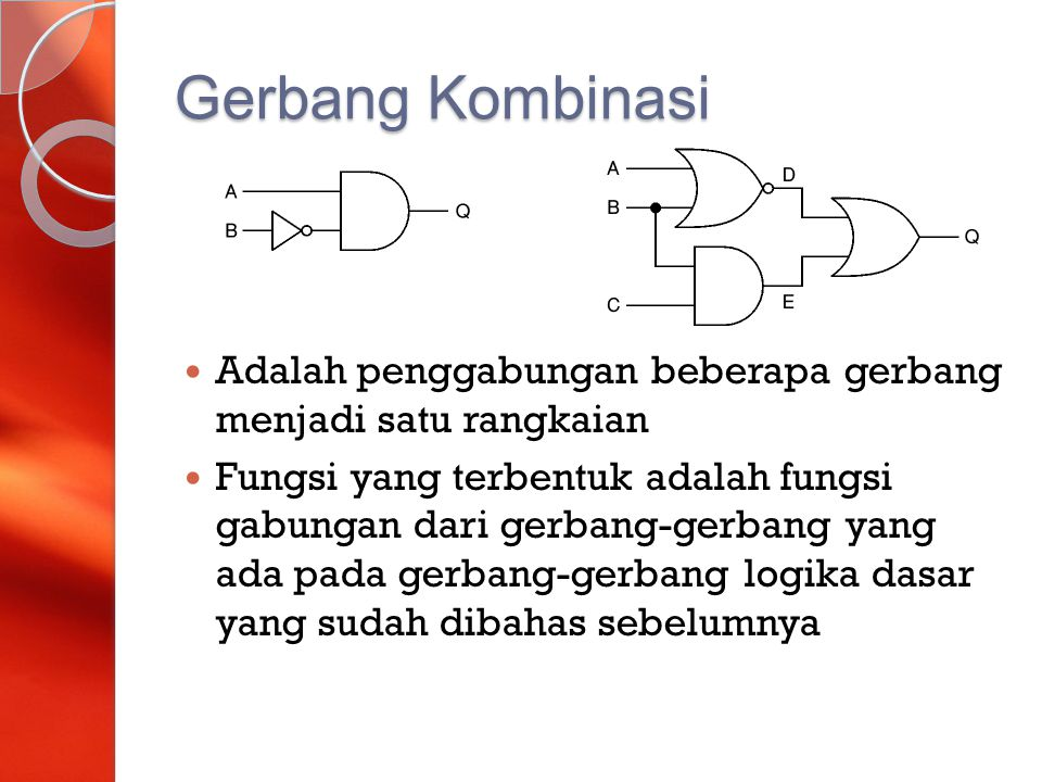 Gerbang Kombinasi Adalah penggabungan beberapa gerbang menjadi satu rangkaian.