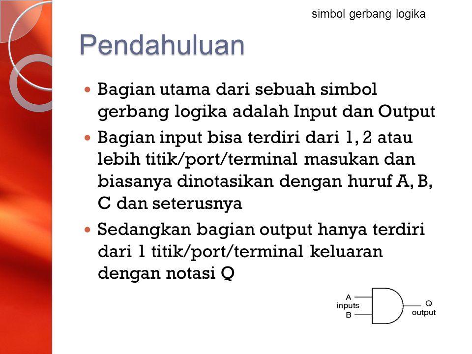 simbol gerbang logika Pendahuluan. Bagian utama dari sebuah simbol gerbang logika adalah Input dan Output.