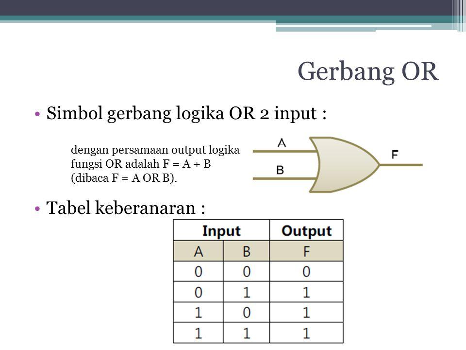 Gerbang OR Simbol gerbang logika OR 2 input : Tabel keberanaran :