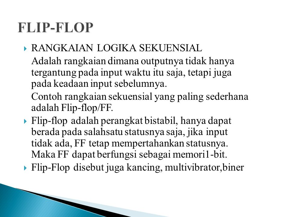 FLIP-FLOP RANGKAIAN LOGIKA SEKUENSIAL
