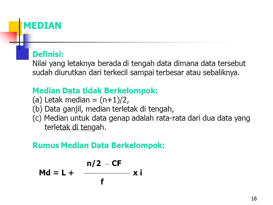 MEDIAN Definisi: Nilai yang letaknya berada di tengah data dimana data tersebut sudah diurutkan dari terkecil sampai terbesar atau sebaliknya.