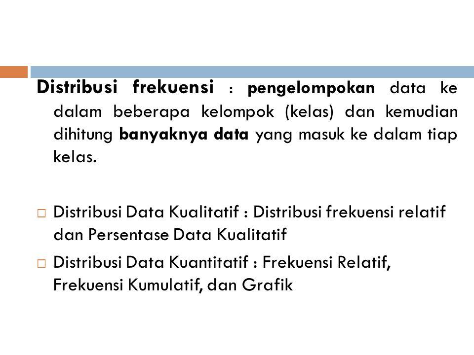 Distribusi frekuensi : pengelompokan data ke dalam beberapa kelompok (kelas) dan kemudian dihitung banyaknya data yang masuk ke dalam tiap kelas.