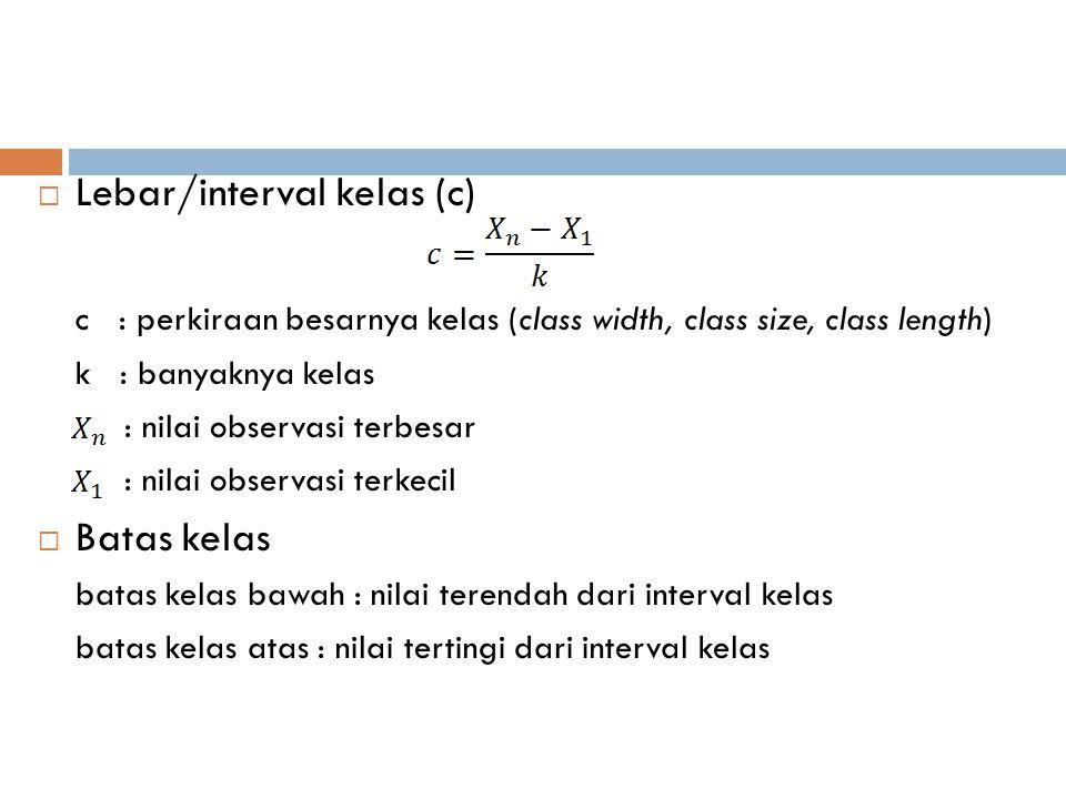Lebar/interval kelas (c)