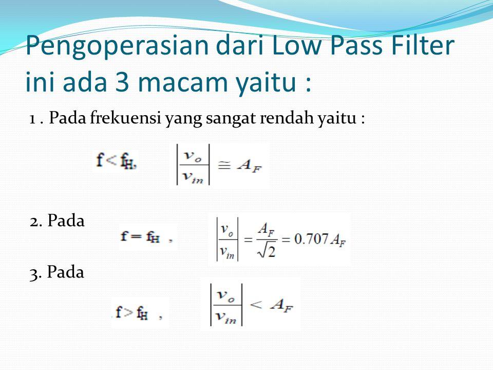 Pengoperasian dari Low Pass Filter ini ada 3 macam yaitu :