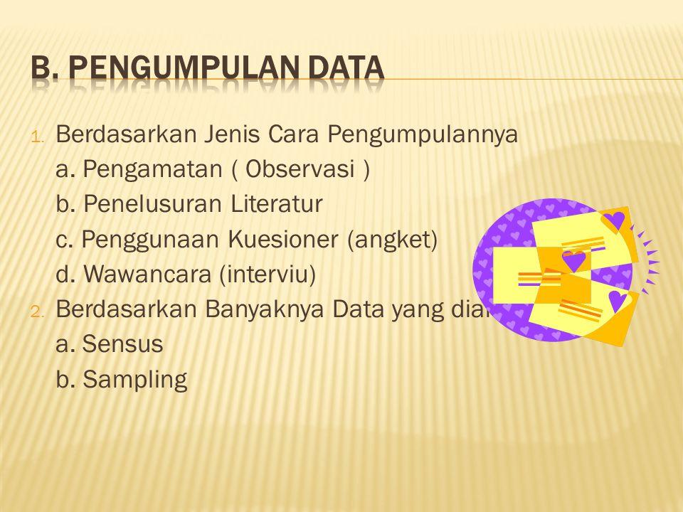 B. Pengumpulan Data Berdasarkan Jenis Cara Pengumpulannya