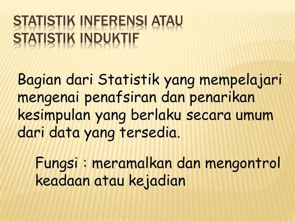 STATISTIK INFERENSI atau STATISTIK INDUKTIF