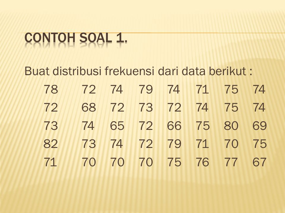 Contoh Soal 1. Buat distribusi frekuensi dari data berikut :