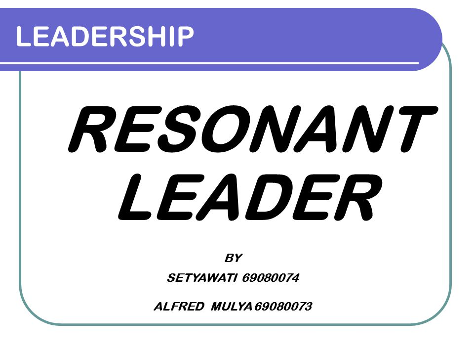 LEADERSHIP RESONANT LEADER BY SETYAWATI 69080074 ALFRED MULYA 69080073