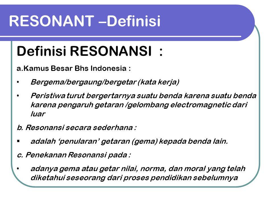 RESONANT –Definisi Definisi RESONANSI : .