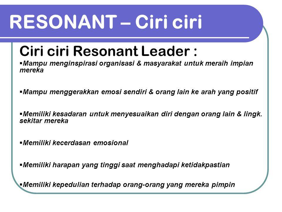 RESONANT – Ciri ciri Ciri ciri Resonant Leader :