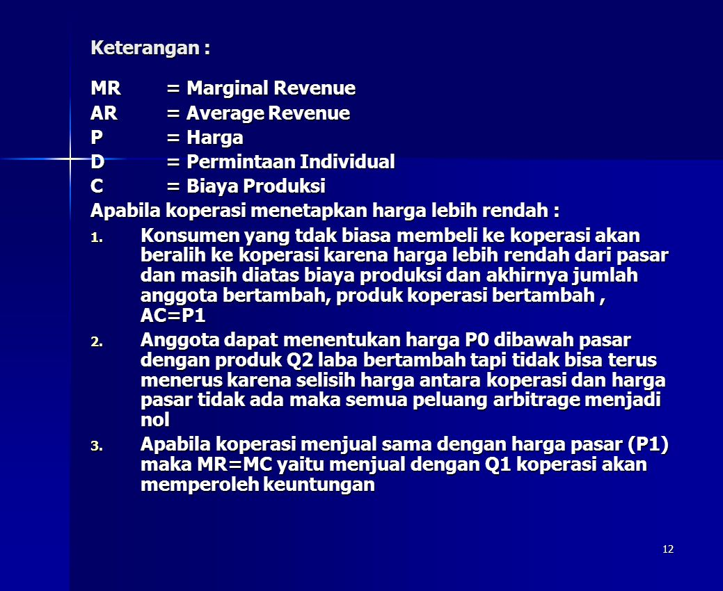 Keterangan : MR = Marginal Revenue. AR = Average Revenue. P = Harga. D = Permintaan Individual.