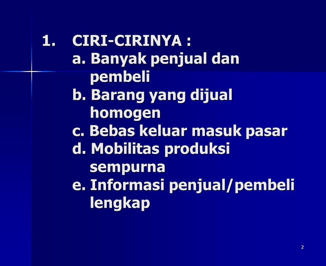 CIRI-CIRINYA : a. Banyak penjual dan pembeli b
