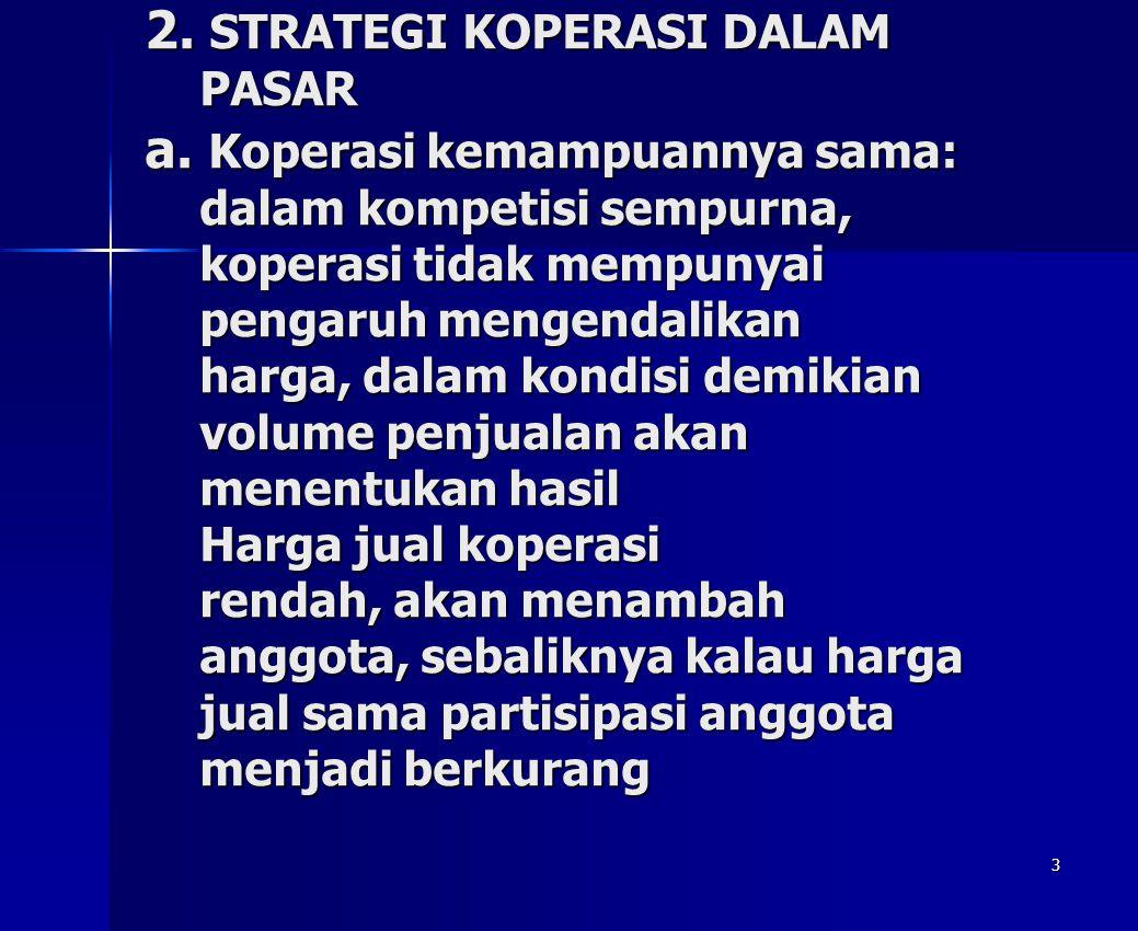 2. STRATEGI KOPERASI DALAM PASAR a