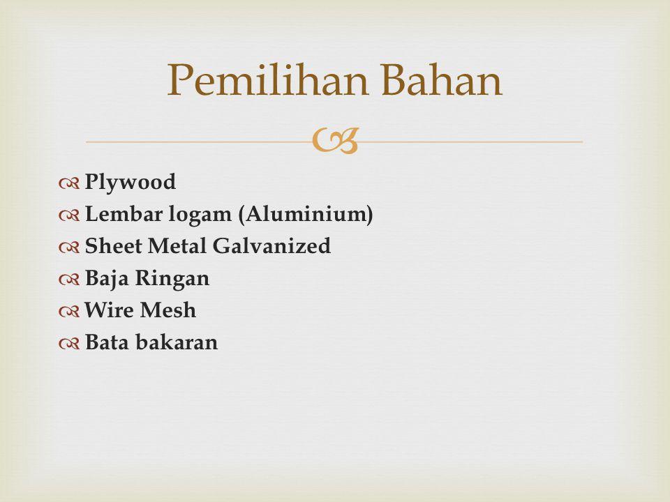 Pemilihan Bahan Plywood Lembar logam (Aluminium)