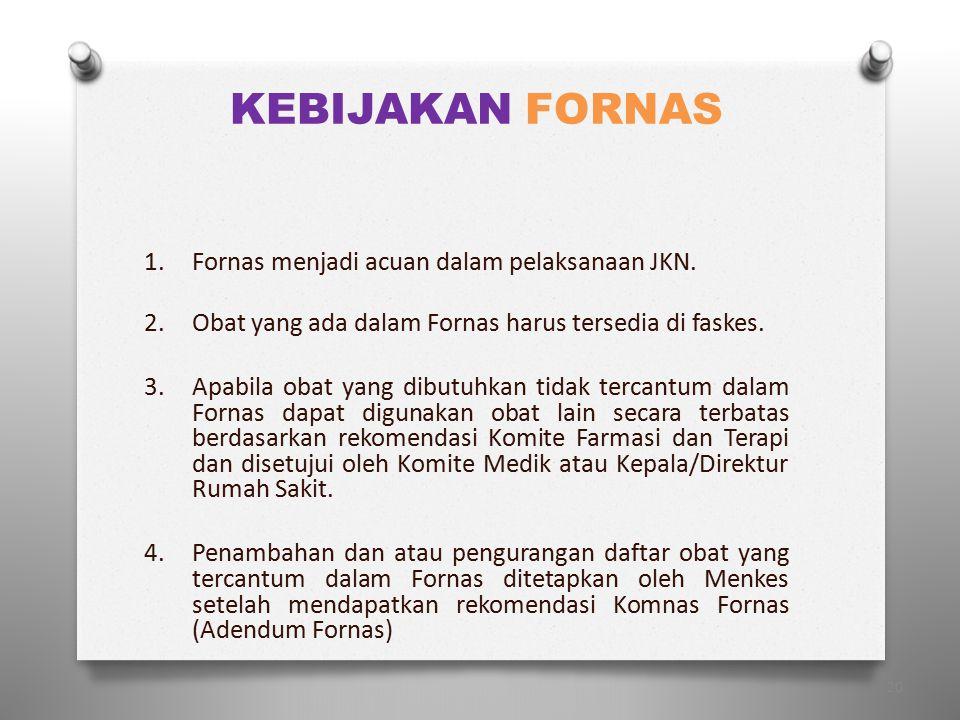 KEBIJAKAN FORNAS Fornas menjadi acuan dalam pelaksanaan JKN.