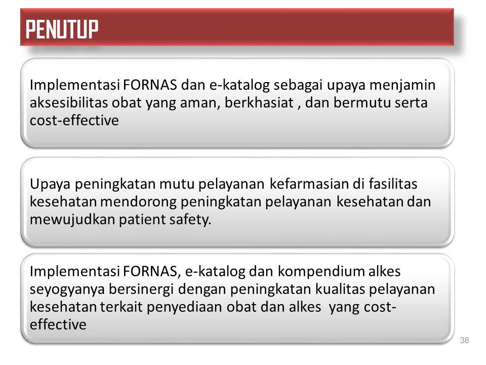 PENUTUP Implementasi FORNAS dan e-katalog sebagai upaya menjamin aksesibilitas obat yang aman, berkhasiat , dan bermutu serta cost-effective.