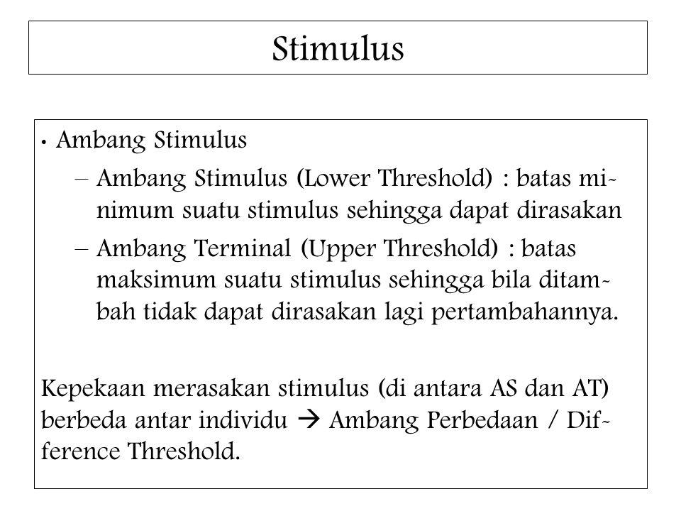 Stimulus Ambang Stimulus. Ambang Stimulus (Lower Threshold) : batas mi-nimum suatu stimulus sehingga dapat dirasakan.