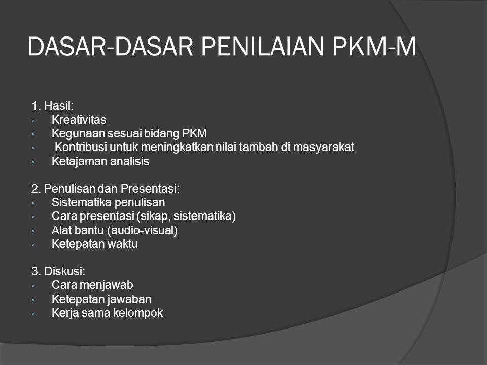 DASAR-DASAR PENILAIAN PKM-M
