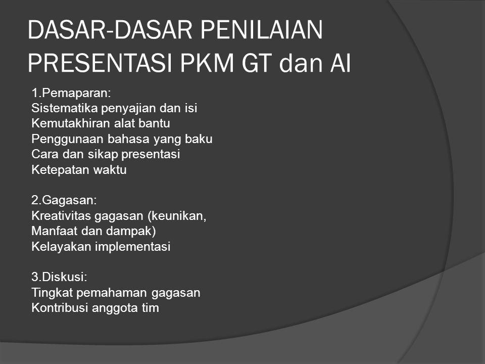 DASAR-DASAR PENILAIAN PRESENTASI PKM GT dan AI