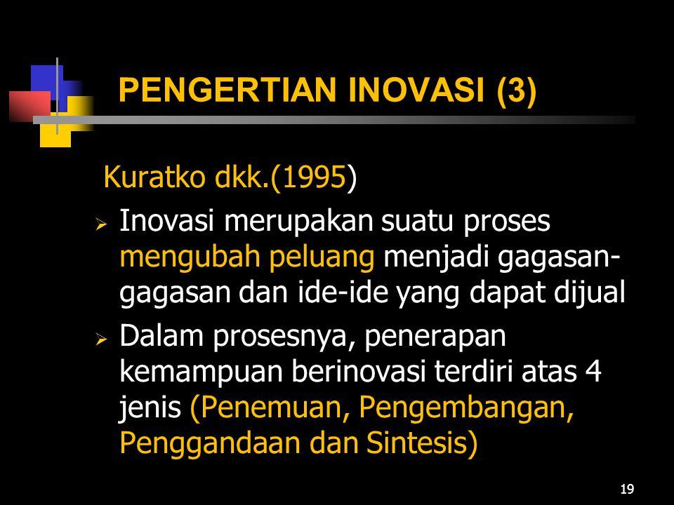 PENGERTIAN INOVASI (3) Kuratko dkk.(1995)