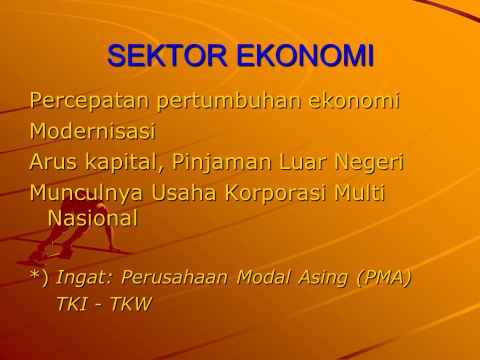 SEKTOR EKONOMI Percepatan pertumbuhan ekonomi Modernisasi