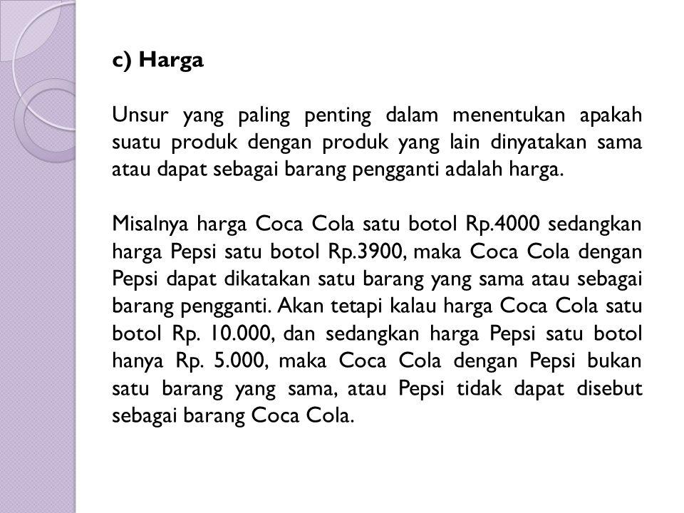 c) Harga