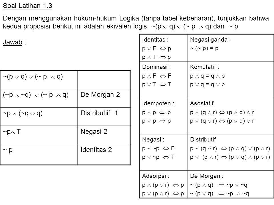 Soal Latihan 1.3
