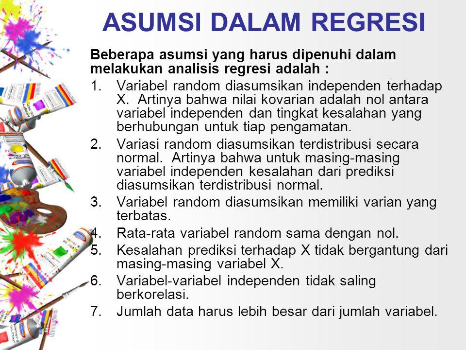 ASUMSI DALAM REGRESI Beberapa asumsi yang harus dipenuhi dalam melakukan analisis regresi adalah :