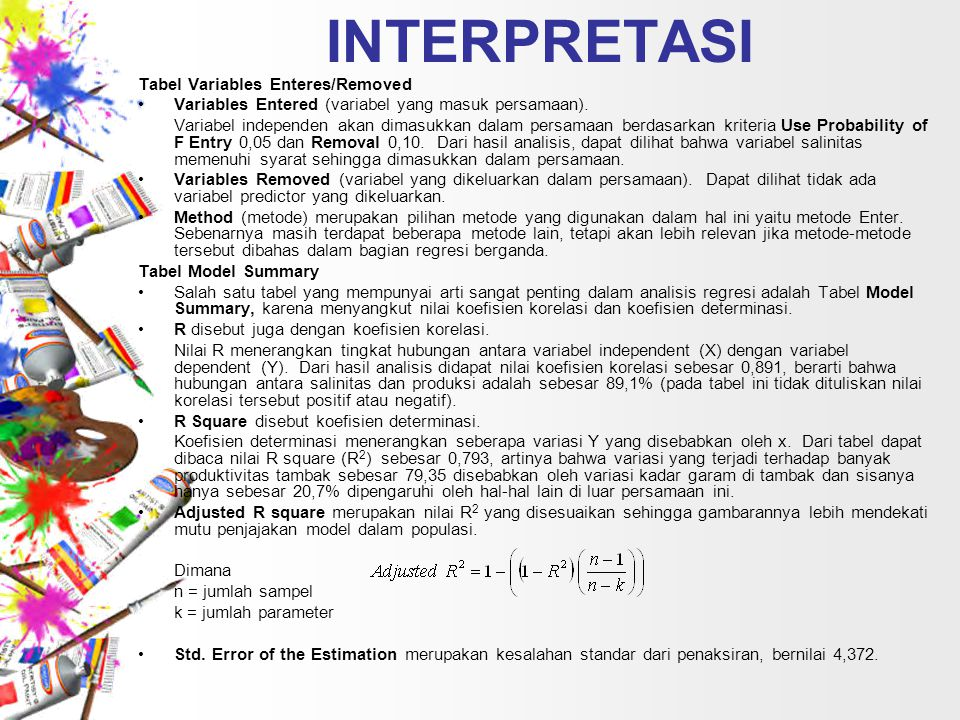 INTERPRETASI Tabel Variables Enteres/Removed